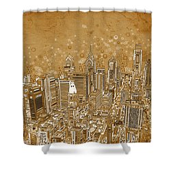 Philadelphia Panorama Vintage Shower Curtain