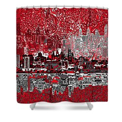 Philadelphia Skyline Abstract 4 Shower Curtain by Bekim Art