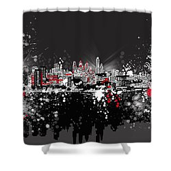 Philadelphia Skyline Abstract 5 Shower Curtain