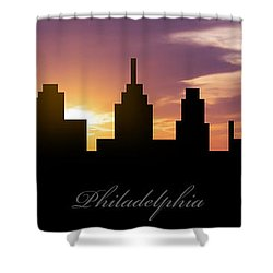 Philadelphia Sunset Shower Curtain by Aged Pixel