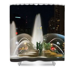 Shower Curtain featuring the photograph Philadelphia - Swann Fountain - Night by Bill Cannon