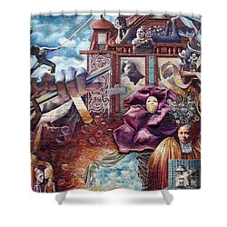 Philadelphia - Theater Of Life Mural Shower Curtain by Richard Reeve