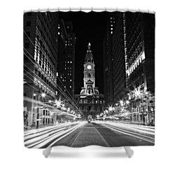 Philadephia City Hall -- Black And White Shower Curtain