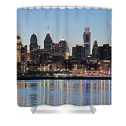 Philly Sunset Shower Curtain by Jennifer Ancker