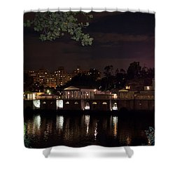 Philly Waterworks At Night Shower Curtain by Bill Cannon