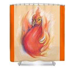 Shower Curtain featuring the pastel Phoenix In The Flames by MM Anderson