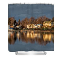 Reflection Of A Village - Phoenix Ny Shower Curtain by Everet Regal