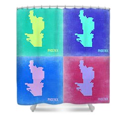 Phoenix Pop Art Map 1 Shower Curtain by Naxart Studio