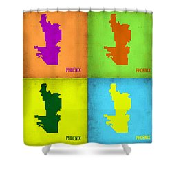 Phoenix Pop Art Map Shower Curtain by Naxart Studio