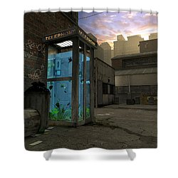 Phone Booth Shower Curtain by Cynthia Decker