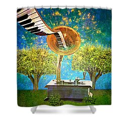 Phonograph Magic Shower Curtain by Ally  White