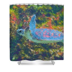 Photo Painting Of Sea Turtle Shower Curtain by Dan Friend