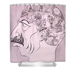 Phrenological Chart Of The German Shower Curtain by Oliver Herford