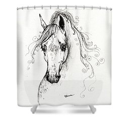 Piaff Polish Arabian Horse Drawing Shower Curtain by Angel  Tarantella