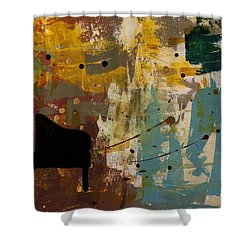 Piano Concerto Shower Curtain by Carmen Guedez