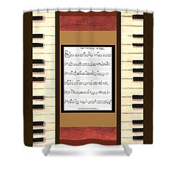 piano keys sheet music to Keep Of The Promise by Kristie Hubler Shower Curtain by Kristie Hubler