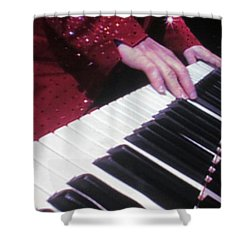 Piano Man At Work Shower Curtain by Aaron Martens