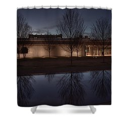 Piano Pavilion Night Reflections Shower Curtain by Joan Carroll