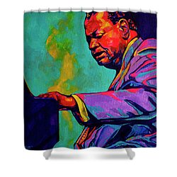 Piano Player Shower Curtain by Derrick Higgins