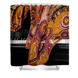 Piano With Scarf Shower Curtain by Madeline Ellis