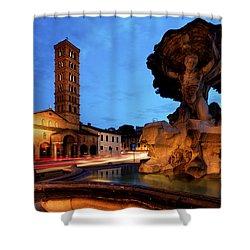 Piazza Della Bocca Della Verita' Shower Curtain