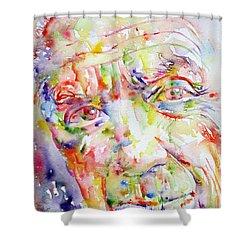Picasso Pablo Watercolor Portrait.2 Shower Curtain by Fabrizio Cassetta