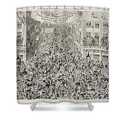 Piccadilly During The Great Exhibition Shower Curtain by George Cruikshank
