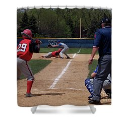 Pick Off Attempt At 1st Base Shower Curtain by Thomas Woolworth