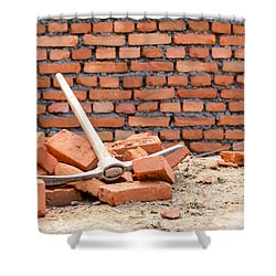 Pickaxe On A Construction Site Shower Curtain