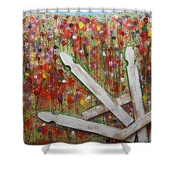 Picket Fence Flower Garden Shower Curtain