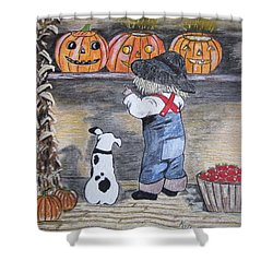Picking Out The Halloween Pumpkin Shower Curtain by Kathy Marrs Chandler