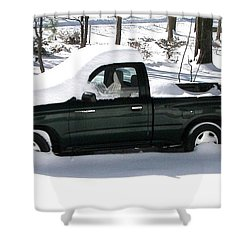 Shower Curtain featuring the photograph Pickup In The Snow by Pamela Hyde Wilson