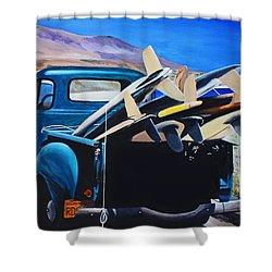 Pickup Truck Shower Curtain by Chikako Hashimoto Lichnowsky