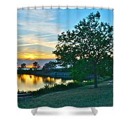 Picnic Lake Shower Curtain by Frozen in Time Fine Art Photography