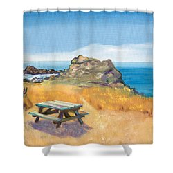 Shower Curtain featuring the painting Picnic Table And Ocean With Yellow Field by Asha Carolyn Young