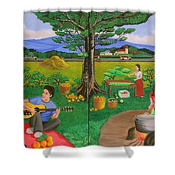 Picnic With The Farmers And Playing Melodies Under The Shade Of Trees Shower Curtain by Lorna Maza
