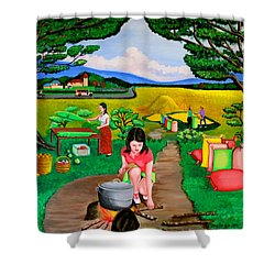 Picnic With The Farmers Shower Curtain by Lorna Maza
