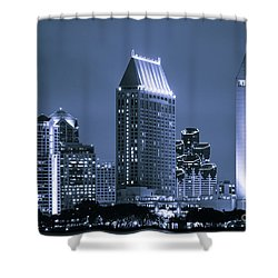 Picture Of San Diego Night Skyline Shower Curtain by Paul Velgos