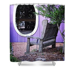 Shower Curtain featuring the photograph Picture Perfect Garden Bench by Ella Kaye Dickey