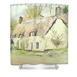 Picturesque Dunster Cottage Shower Curtain by Martin Howard
