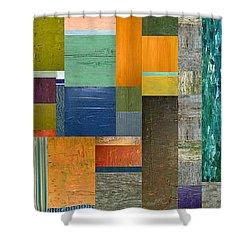Pieces Parts V Shower Curtain by Michelle Calkins