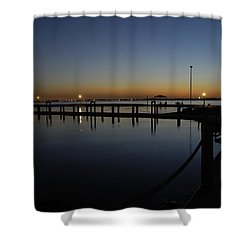 Pier At Chandlers Landing Rockwall Tx Shower Curtain by Charles Beeler