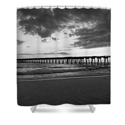 Pier In Black And White Shower Curtain by Sandy Keeton