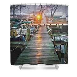 Pier Light - Oil Paint Effect Shower Curtain by Brian Wallace