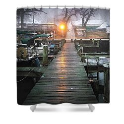 Pier Light - Watercolor Effect Shower Curtain by Brian Wallace