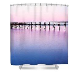 Pier On Lake Winnipeg Shower Curtain by Ken Gillespie