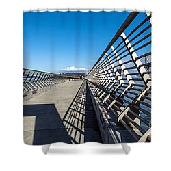 Shower Curtain featuring the photograph Pier Perspective by Kate Brown