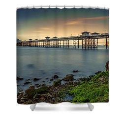 Pier Seascape Shower Curtain by Adrian Evans