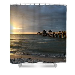 Pier Sunset Naples Shower Curtain by Christiane Schulze Art And Photography