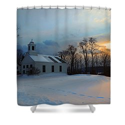 Piermont Church In Winter Light Shower Curtain
